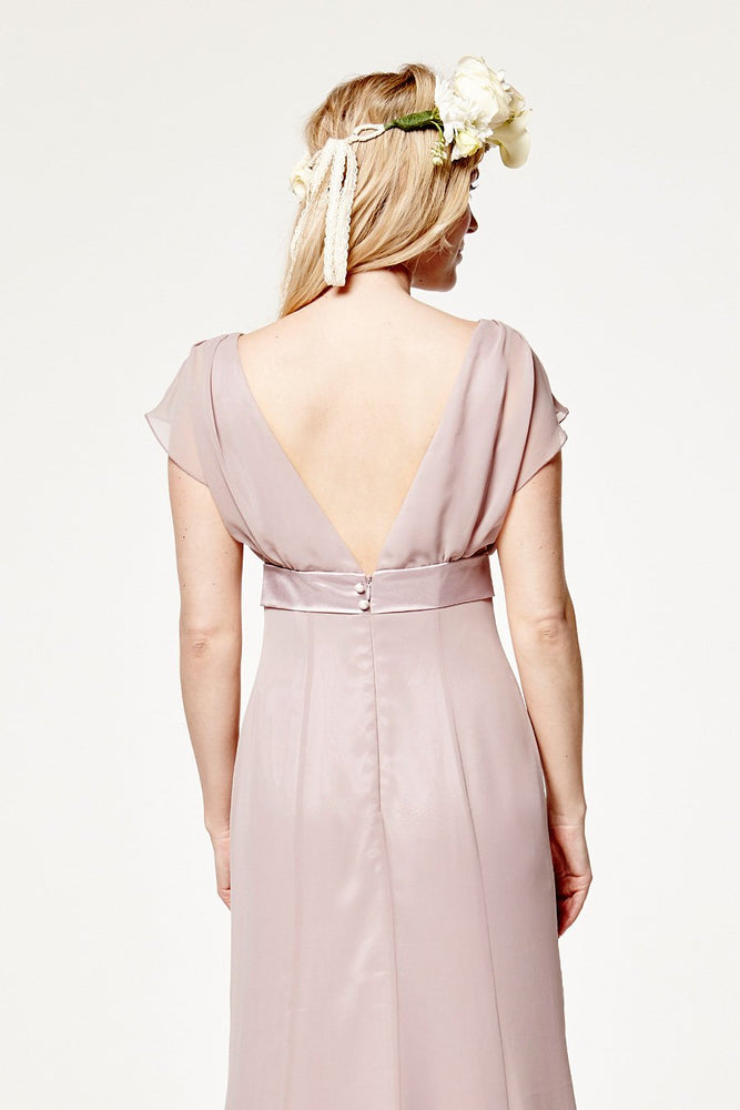Isla Fitted Frosted Fig Mauve Occasion Dress (Back zoom)