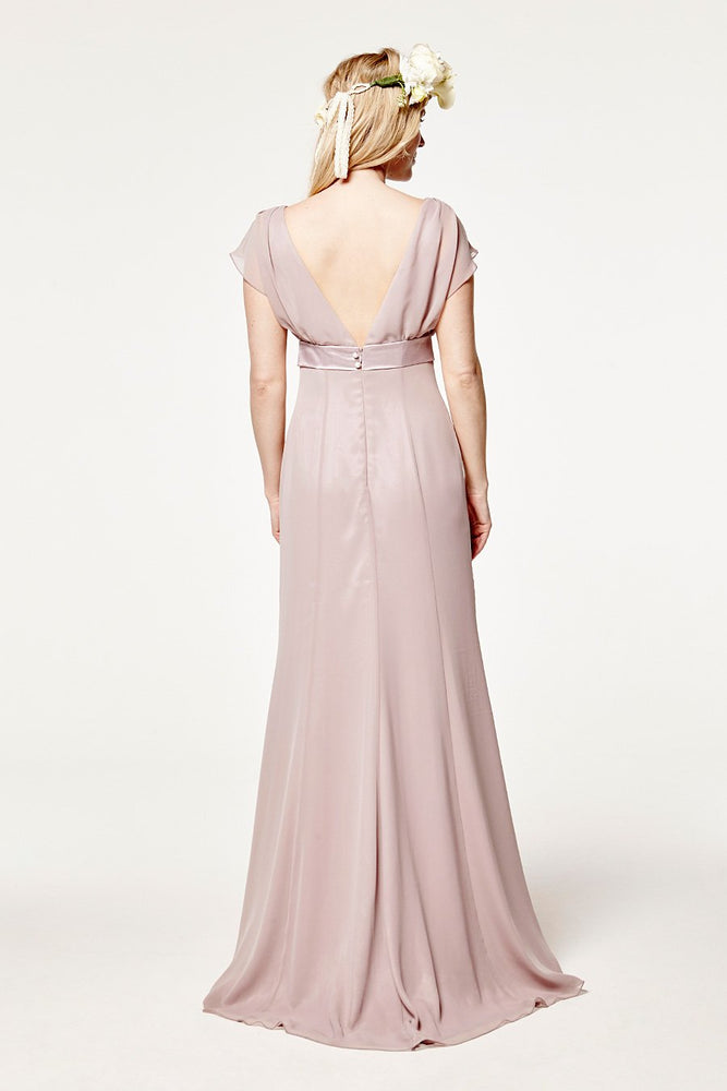 Isla Fitted Frosted Fig Mauve Occasion Dress (Back)