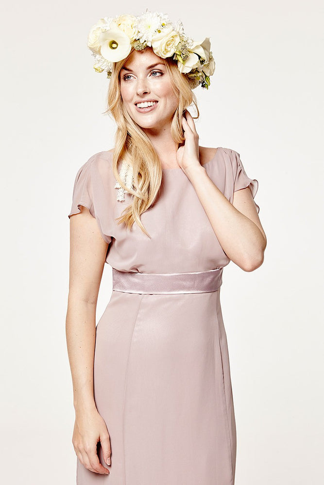 Isla Fitted Frosted Fig Mauve Occasion Dress (Front zoom)