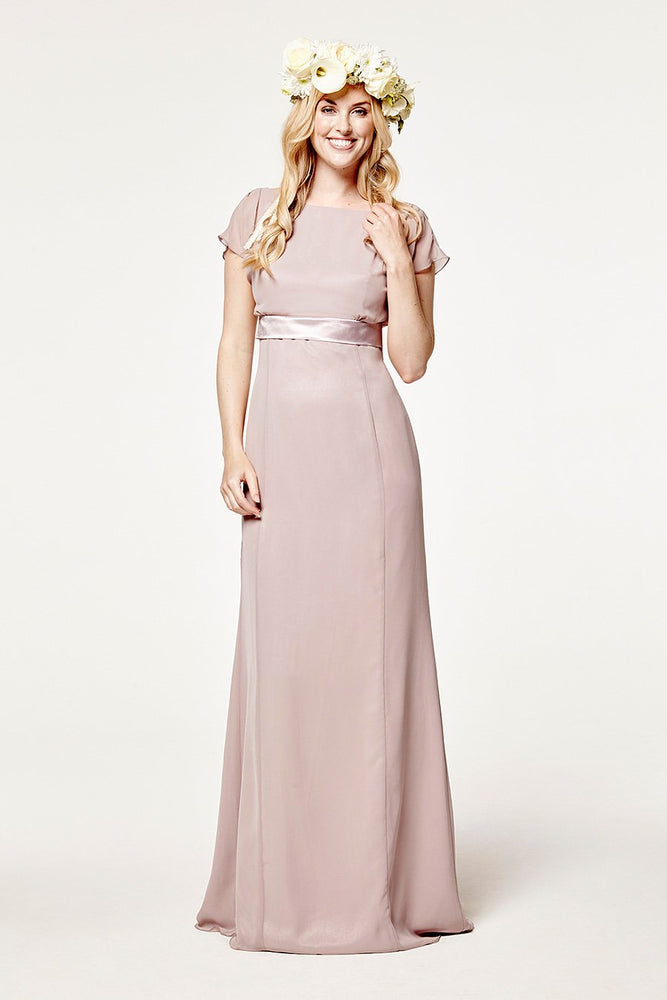 Isla Fitted Frosted Fig Mauve Occasion Dress (Front)