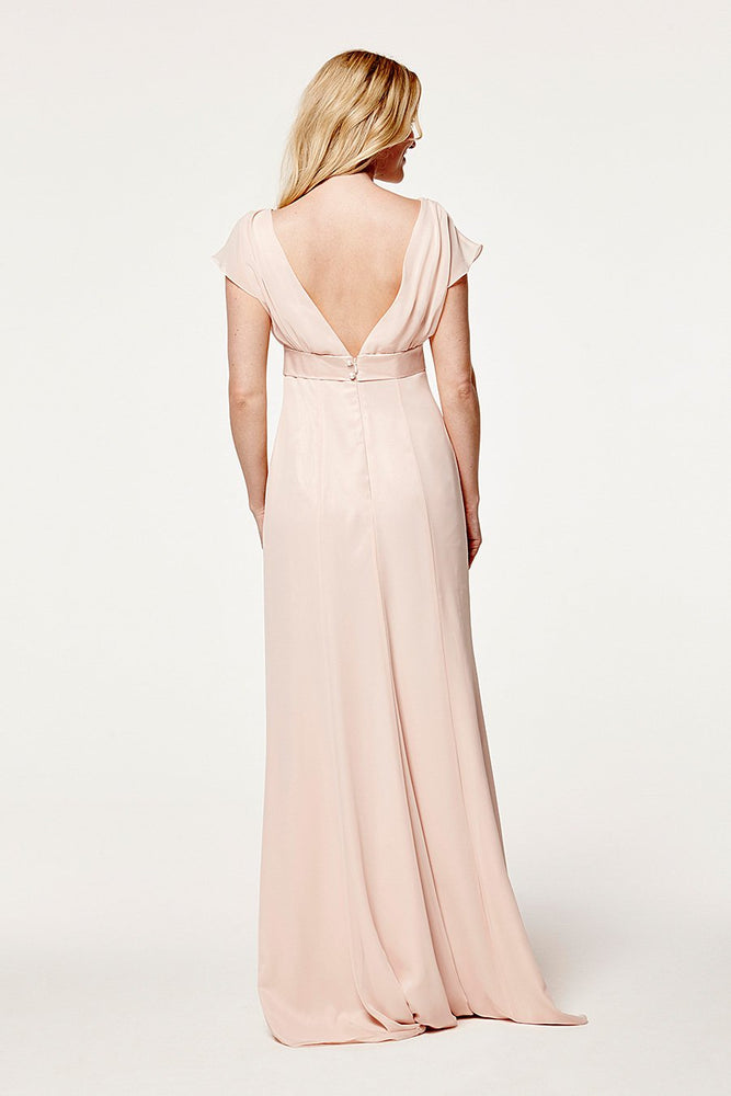 Isla Fitted Just Peachy Bridesmaids Dress (Back)
