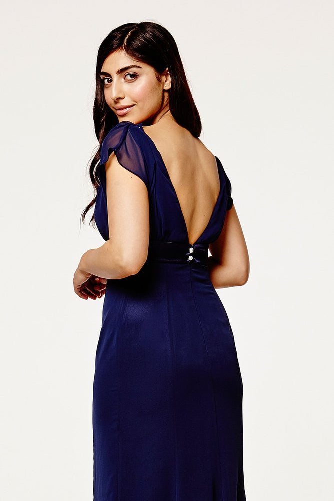 Isla Fitted Midnight Blue Occasion Dress (Back zoom)