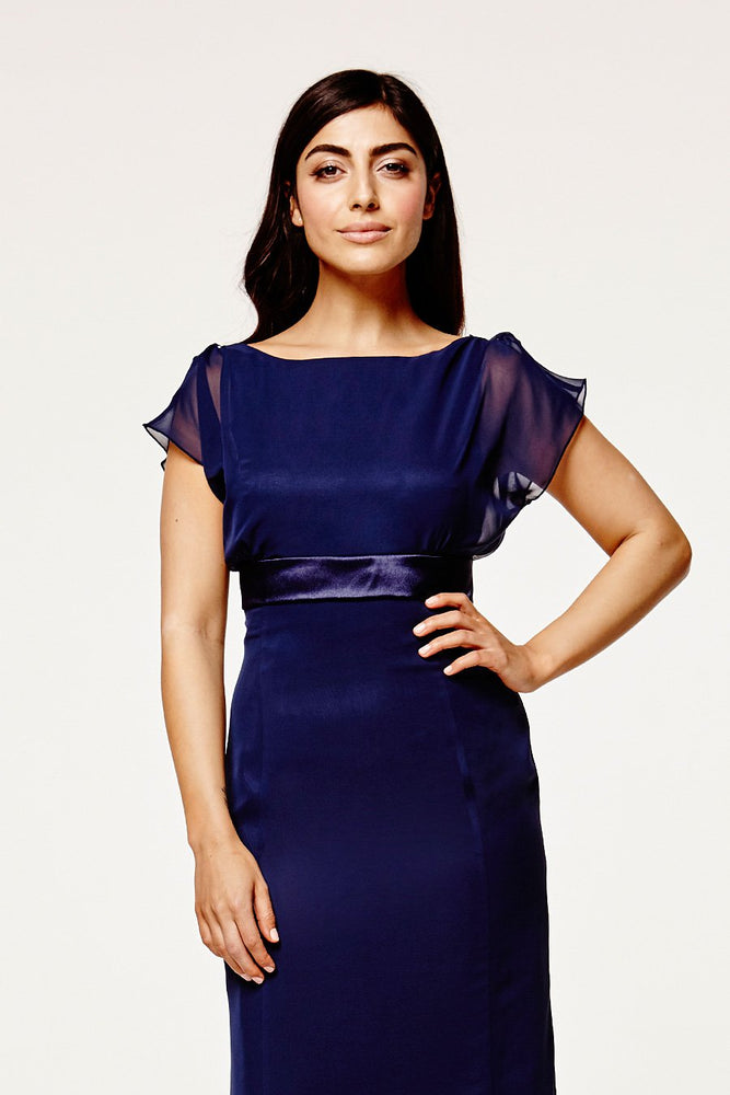 Isla Fitted Midnight Blue Occasion Dress (Front zoom)