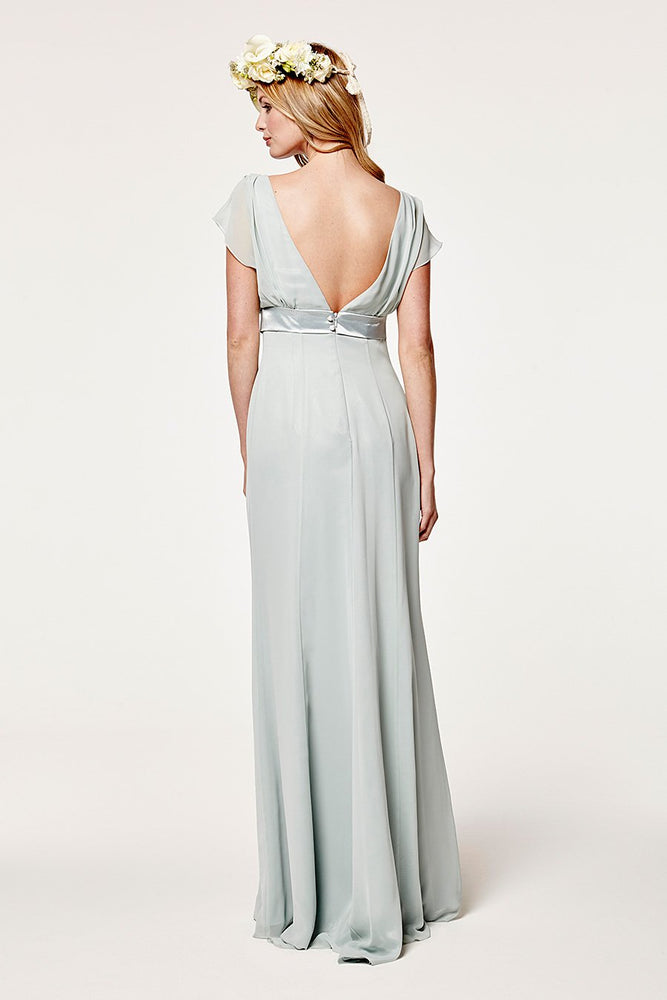 Isla Fitted Misty Green Occasion Dress (Back zoom)