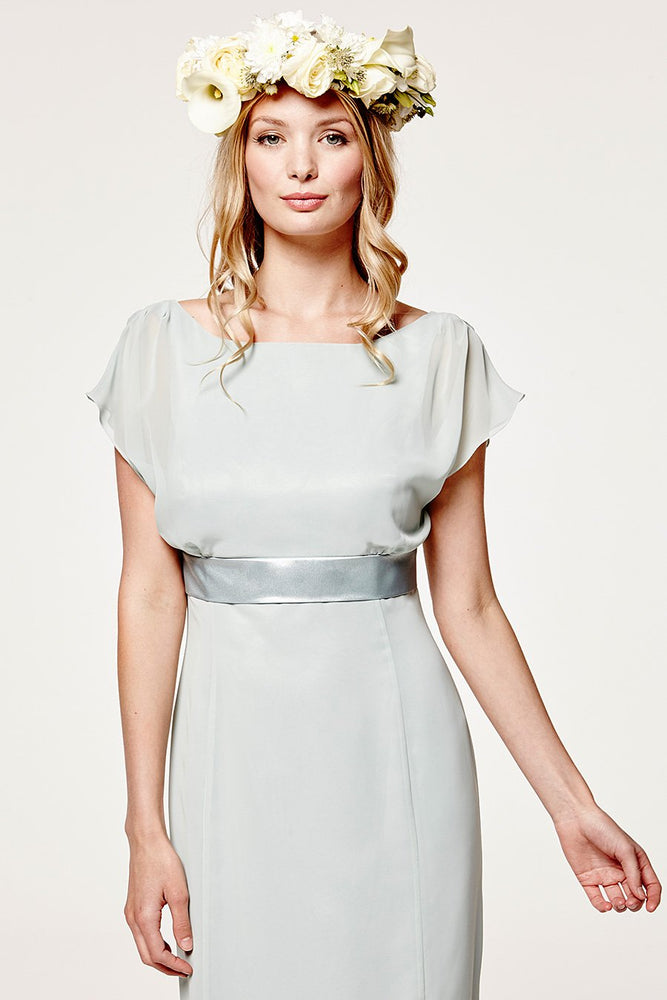 Isla Fitted Misty Green Occasion Dress (Front zoom)