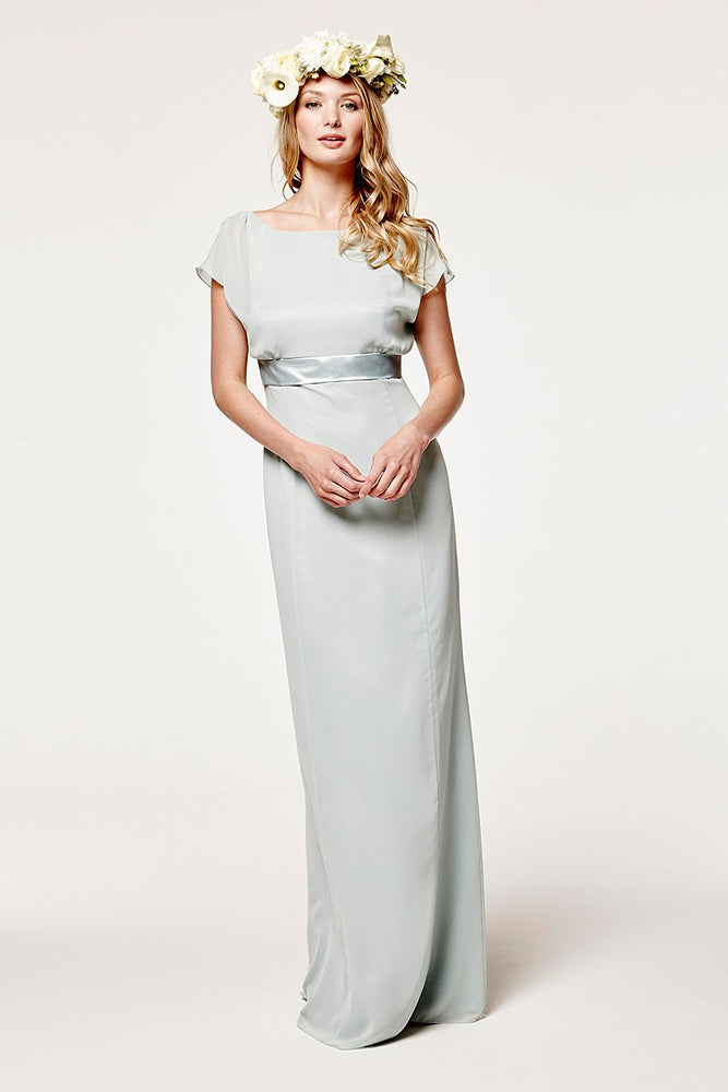 Isla Fitted Misty Green Occasion Dress (Front)