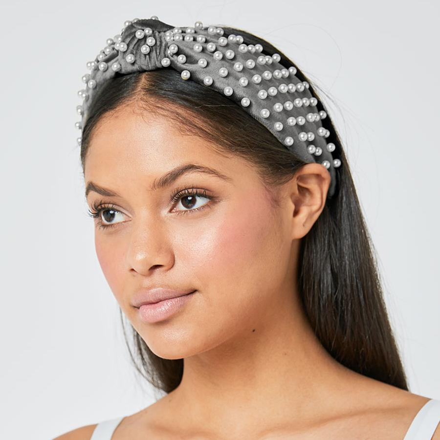 Knotted Faux Pearl Grey Headband (Model)
