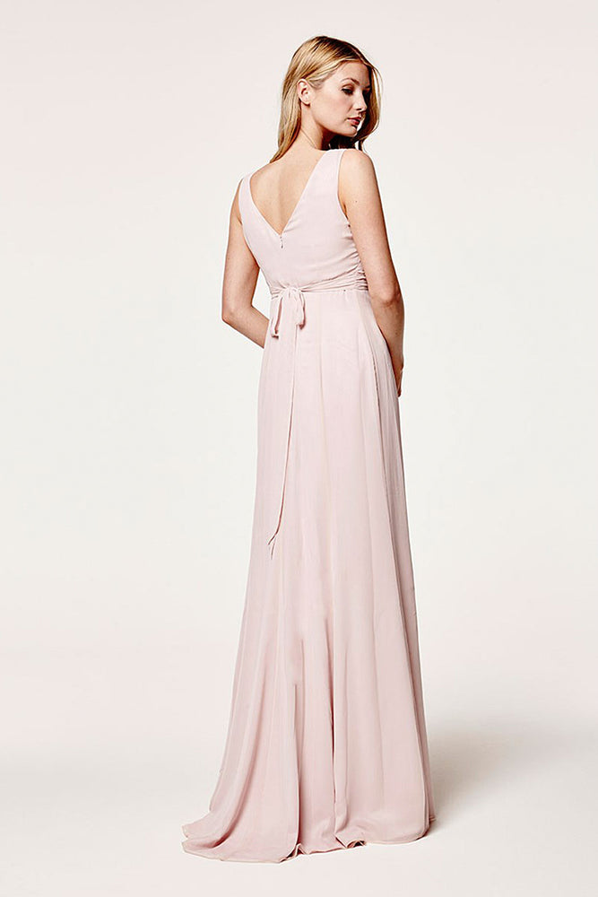 Lisette Fitted Blossom Pink Bridesmaids Dress (Back)