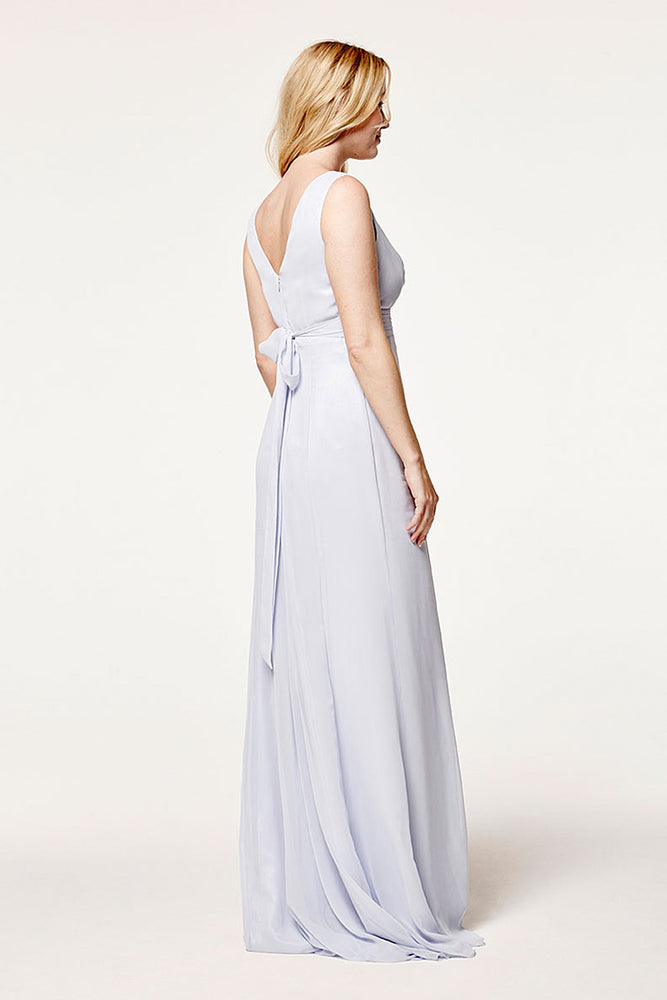 Lisette Fitted Cloud Blue Bridesmaids Dress (Back)