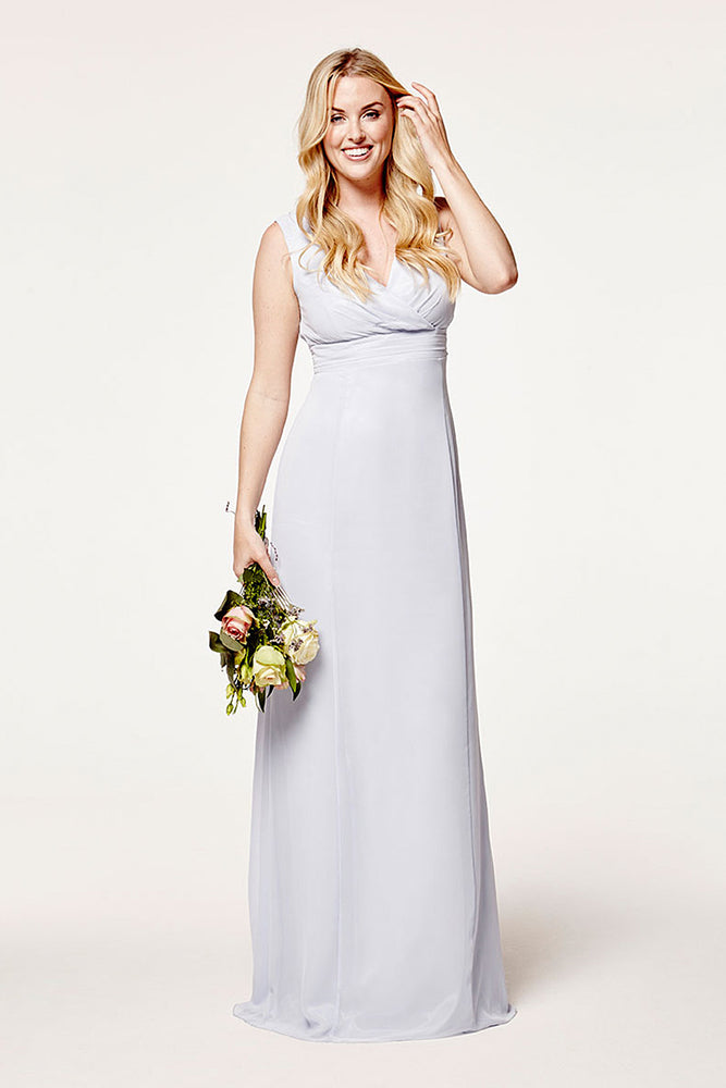 Lisette Fitted Cloud Blue Bridesmaids Dress (Front)