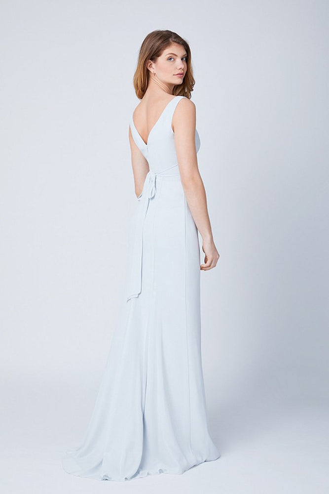 Lisette Fitted Dove Grey Bridesmaids Dress (Back)