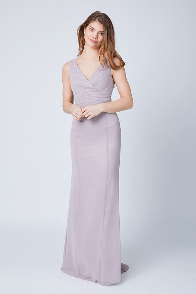 Lisette Fitted Frosted Fig Mauve Bridesmaids Dress (Front)