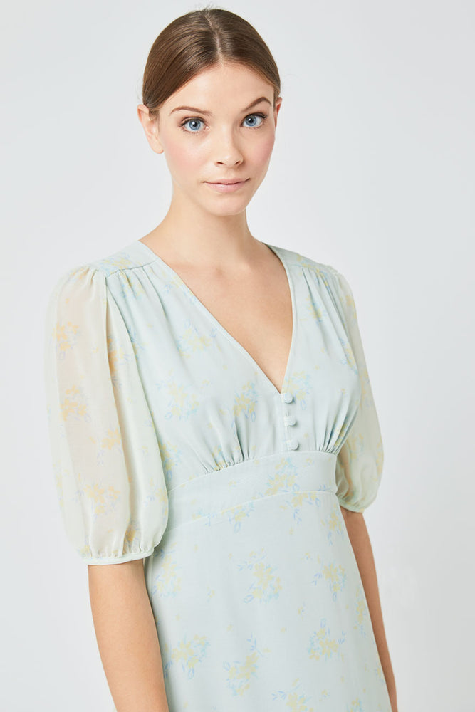 Mathilda Print Dress Misty Green