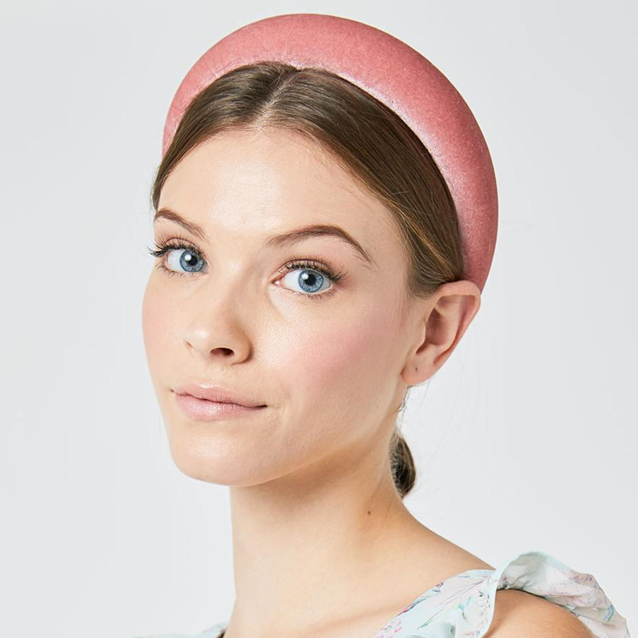 Padded Plain Velvet Effect Blossom Pink Head Band (Model)