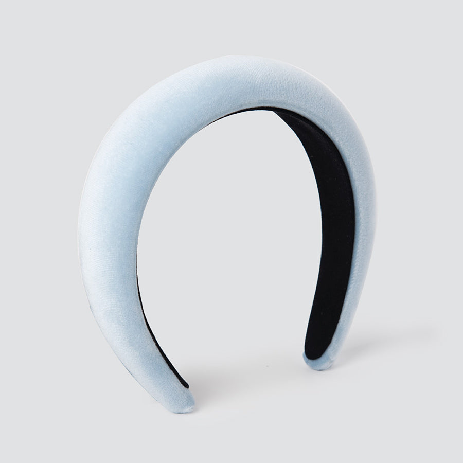 Padded Plain Velvet Cloud Blue Head Band