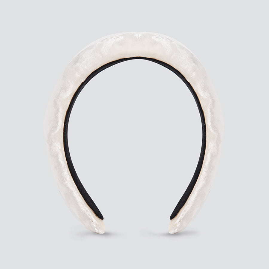 Padded Plain Velvet Ivory Head Band