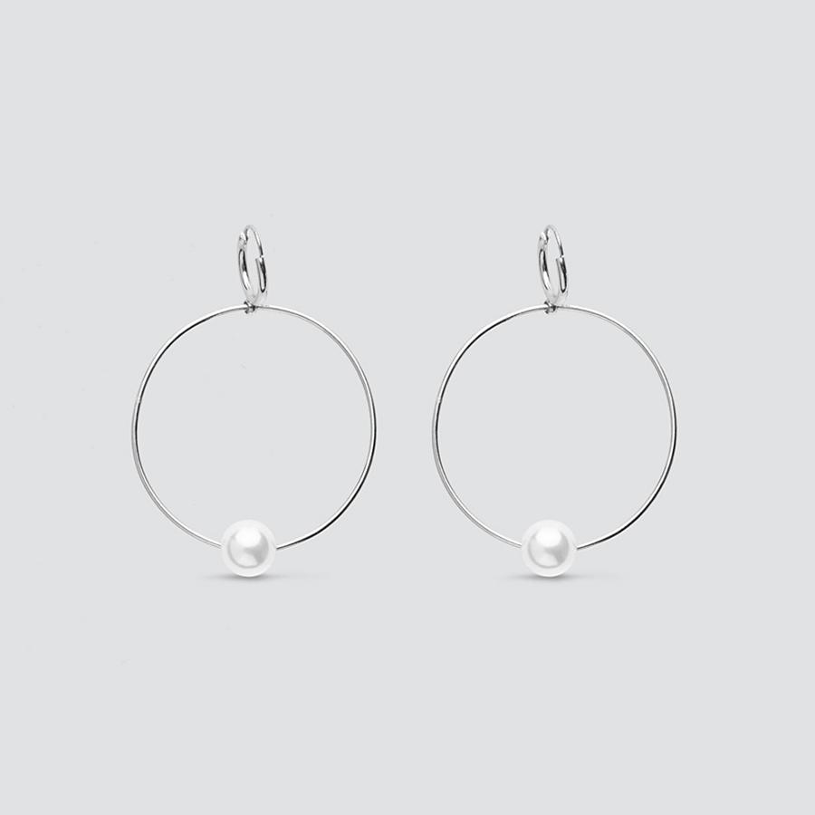 Pearl Silver Hoop Earrings