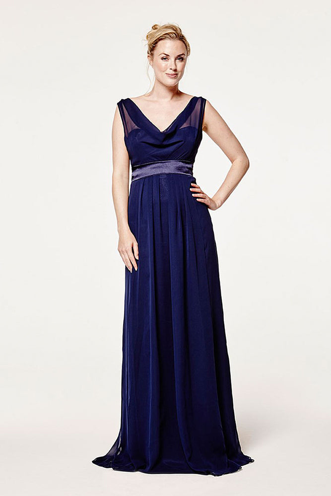 Penelope Floaty Midnight Blue Bridesmaids Dress (Front Zoom)