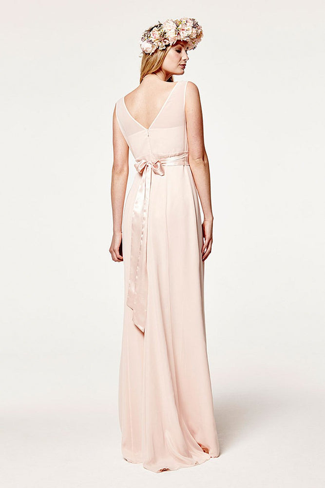 Penelope Fitted Just Peachy Bridesmaids Dress (Front Zoom)