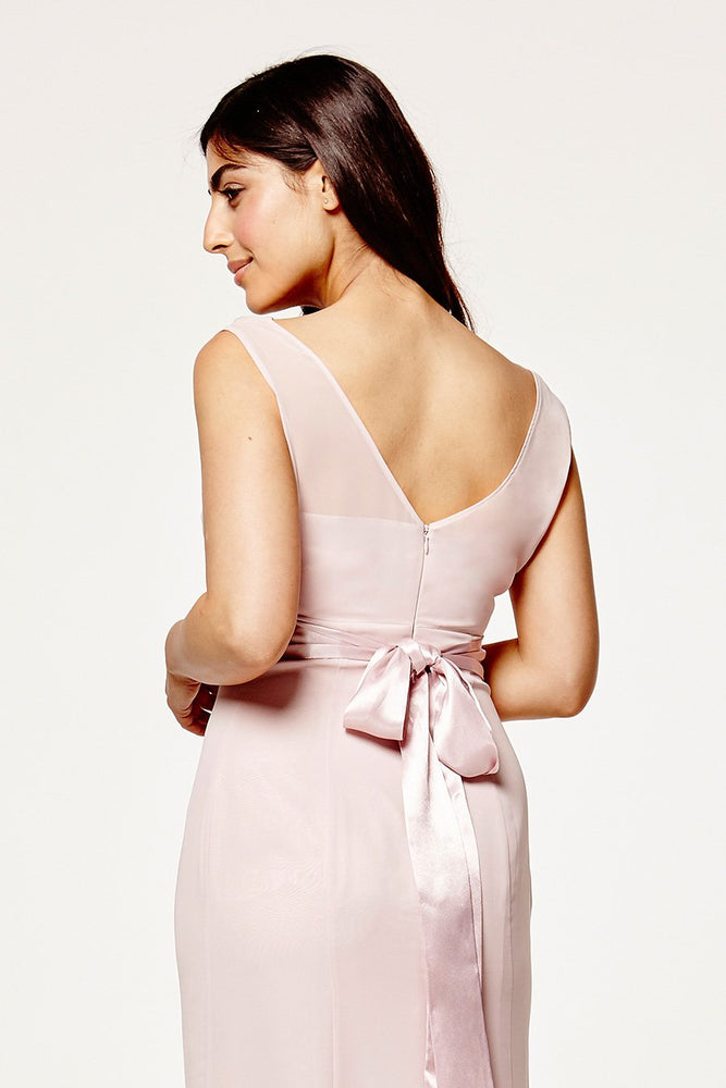 Penelope Fitted Blossom Pink Occasion Dress (Back zoom)