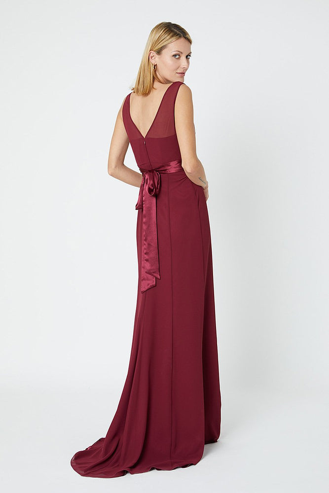 Penelope Fitted Burgundy Red Occasion Dress (Back)