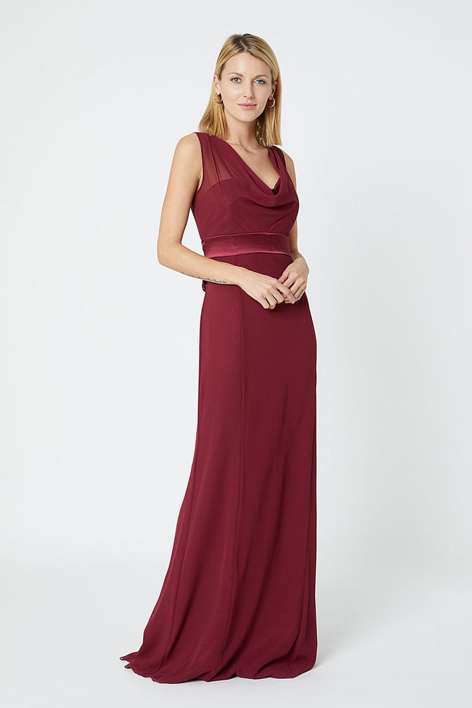 Penelope Fitted Burgundy Red Occasion Dress (Front)