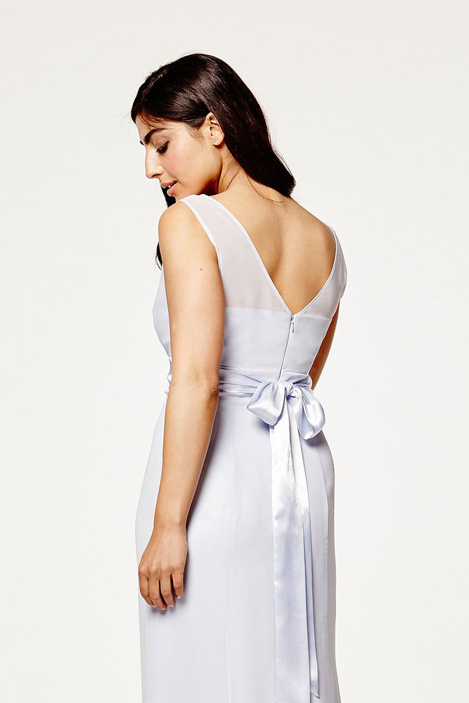 Penelope Fitted Cloud Blue Occasion Dress (Back zoom)