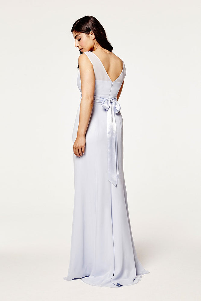 Penelope Fitted Cloud Blue Occasion Dress (Back)