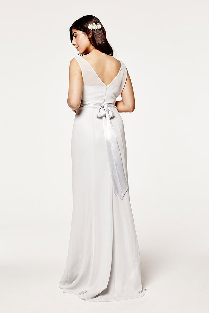 Penelope Fitted Dove Grey Occasion Dress (Back zoom)