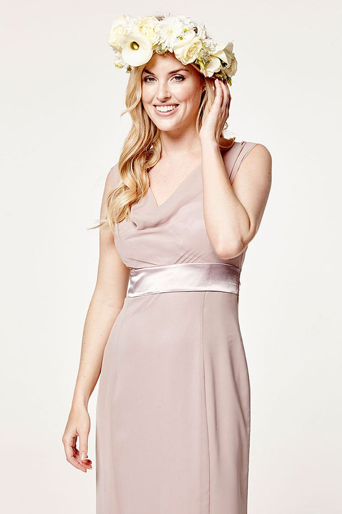 Penelope Fitted Frosted Fig Mauve Occasion Dress (Front zoom)