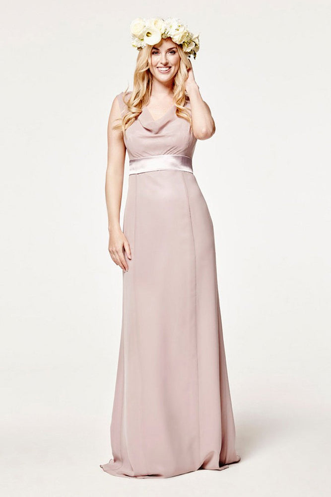 Penelope Fitted Frosted Fig Mauve Occasion Dress (Front)