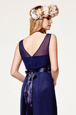 Penelope Fitted Midnight Blue Occasion Dress (Back zoom)