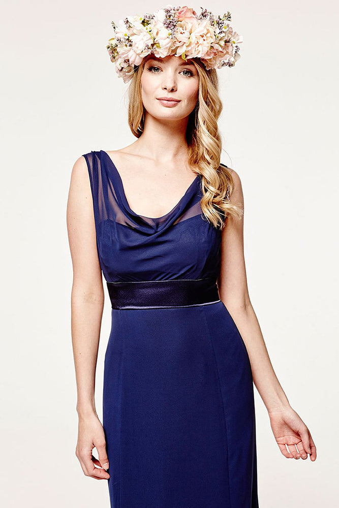 Penelope Fitted Midnight Blue Occasion Dress (Front zoom)
