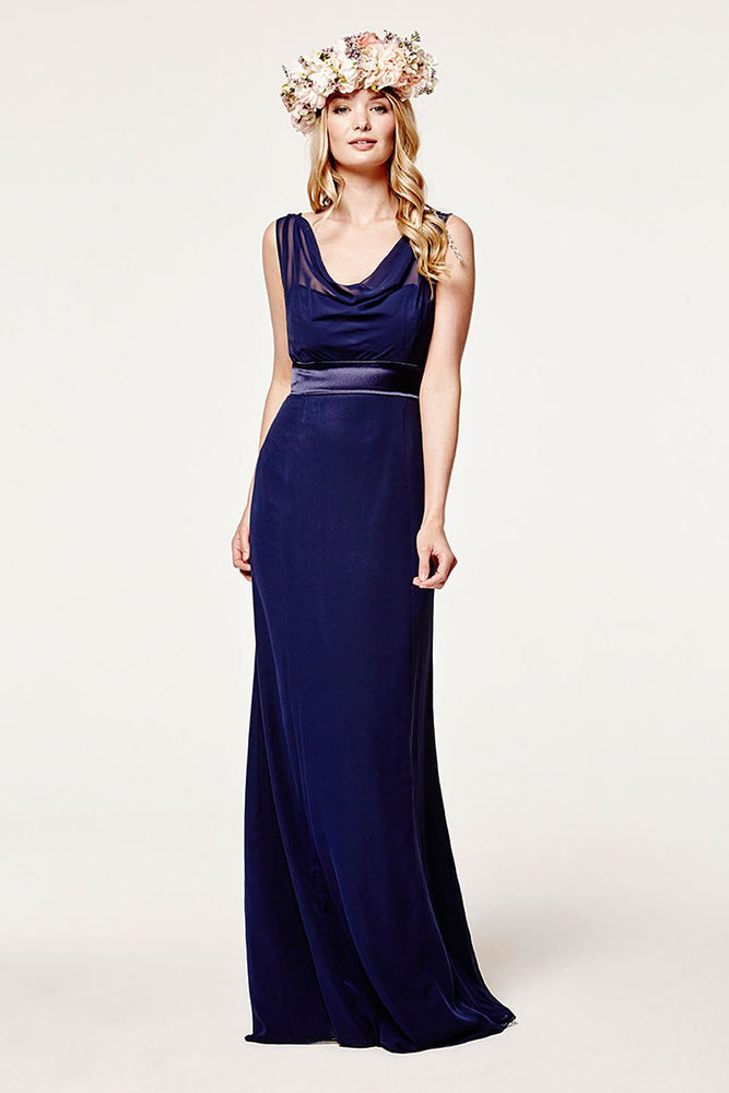 Penelope Fitted Midnight Blue Occasion Dress (Front)