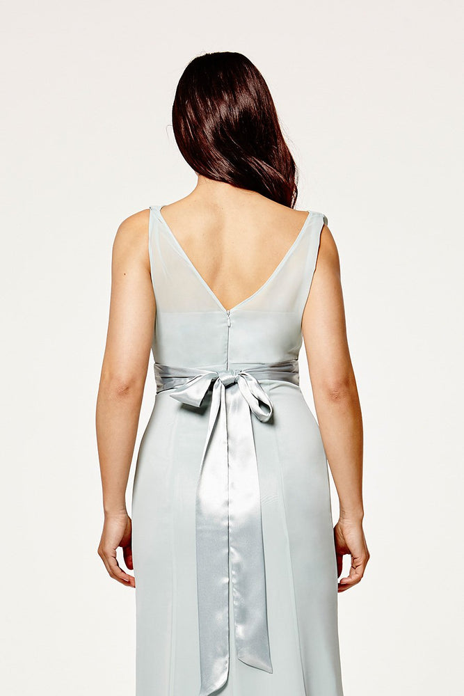 Penelope Fitted Misty Green Occasion Dress (Back zoom)