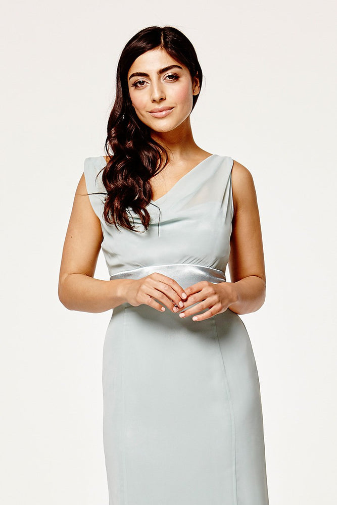 Penelope Fitted Misty Green Occasion Dress (Front zoom)