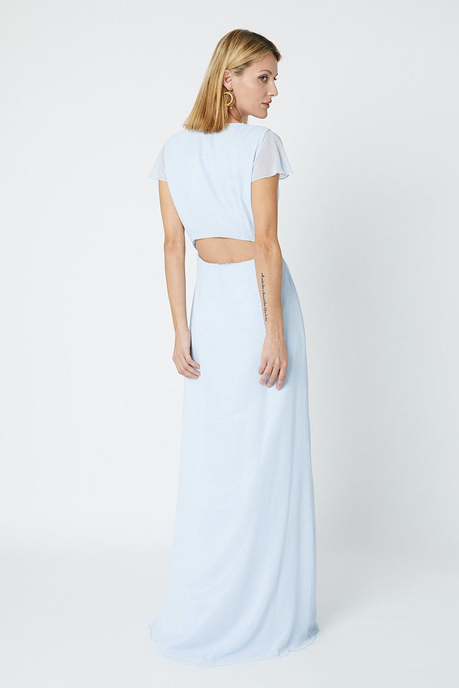 Queenie Cloud Blue Occasion Dress (Back zoom)