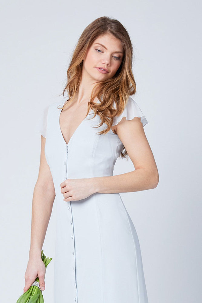 Queenie Dove Grey Occasion Dress (Front zoom)