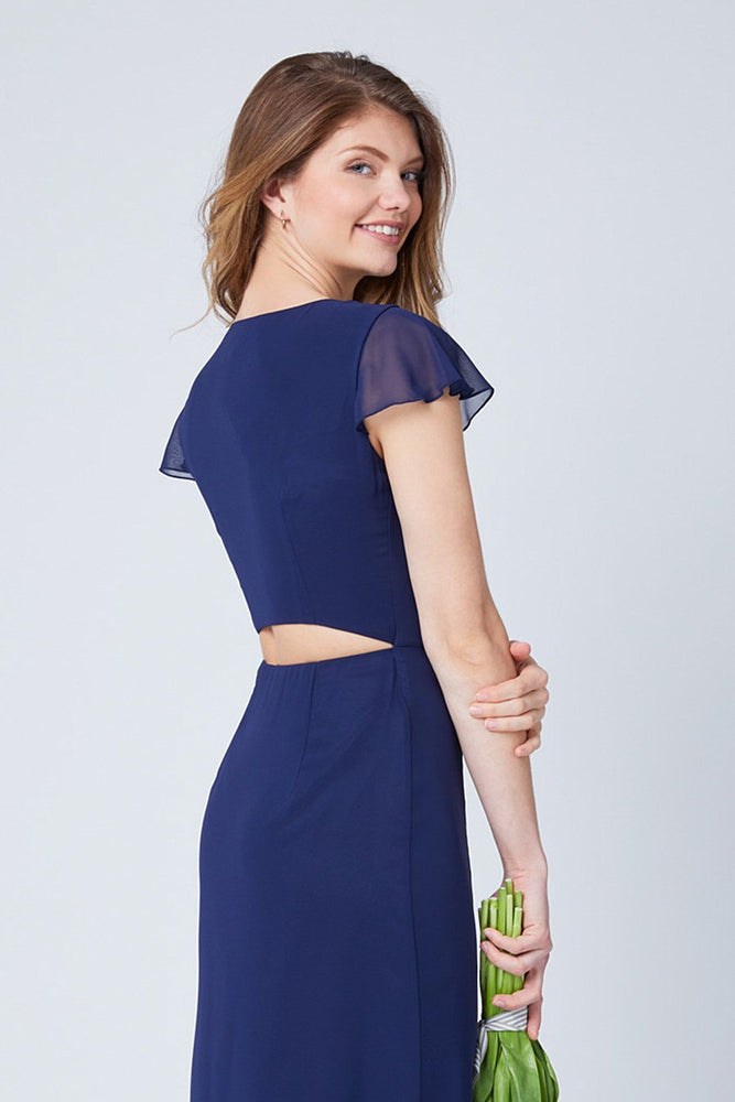 Queenie Midnight Blue Occasion Dress (Back zoom)