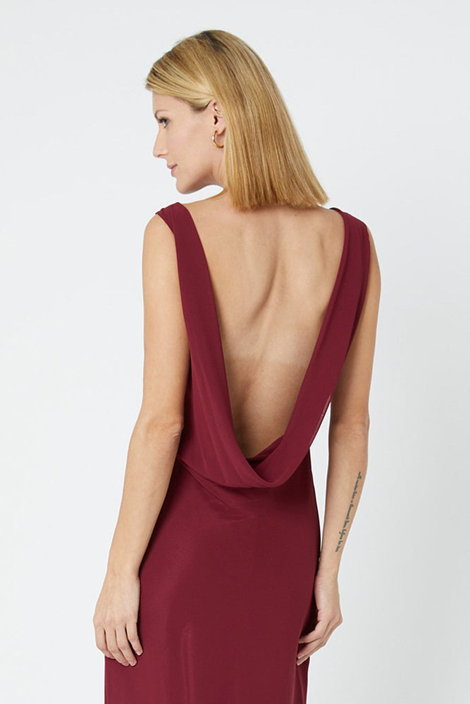 Regent Burgundy Red Occasion Dress (Back zoom)