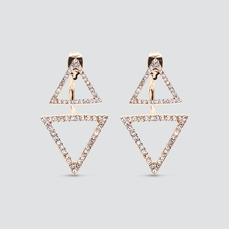 Triangle Pave Gold Earrings