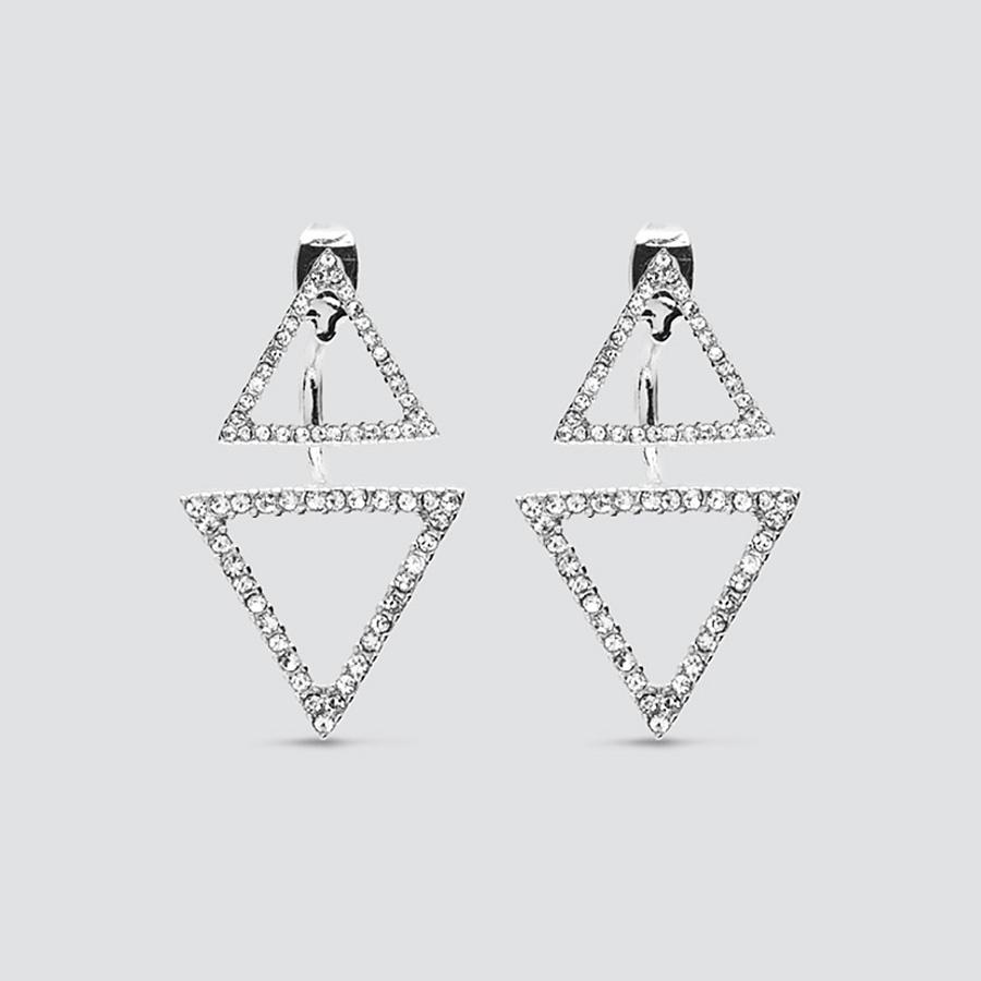 Triangle Pave Silver Earrings