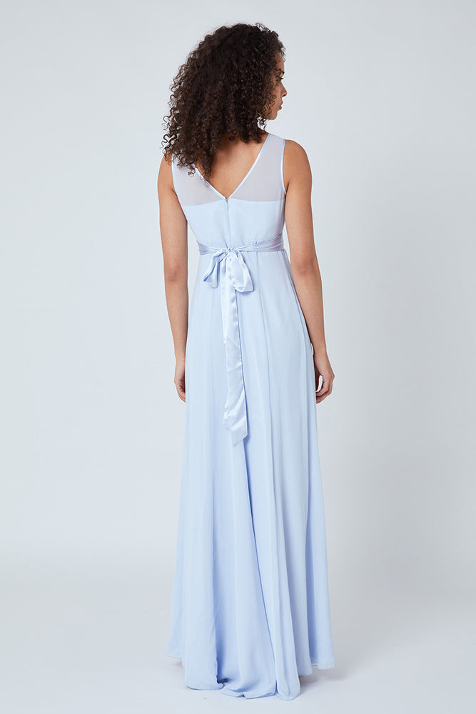 Charlotte Floaty Cloud Blue Bridesmaids Dress (Back zoom)