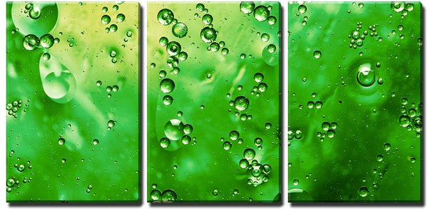 Green Drops on Canvas - 3 Panel