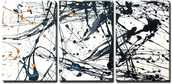 Abstract Ink on Canvas  - 3 Panel