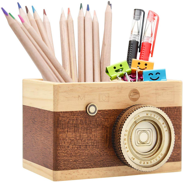 Wooden Camera Pencil Holder