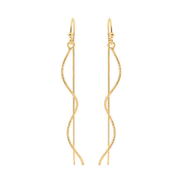 Two Strand Silver Rain Earrings - Gold