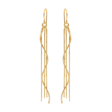 Four Strand Silver Rain Earrings - Gold