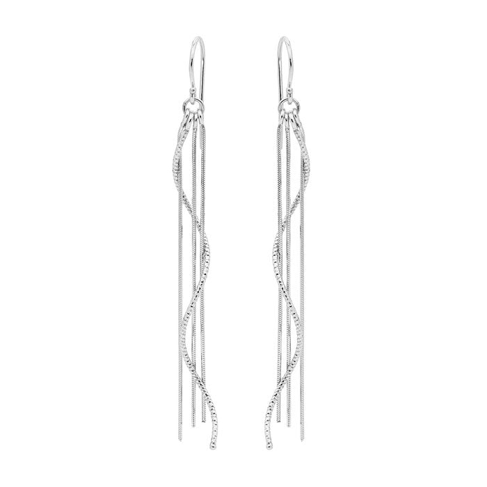 Four Strand Silver Rain Earrings - Silver