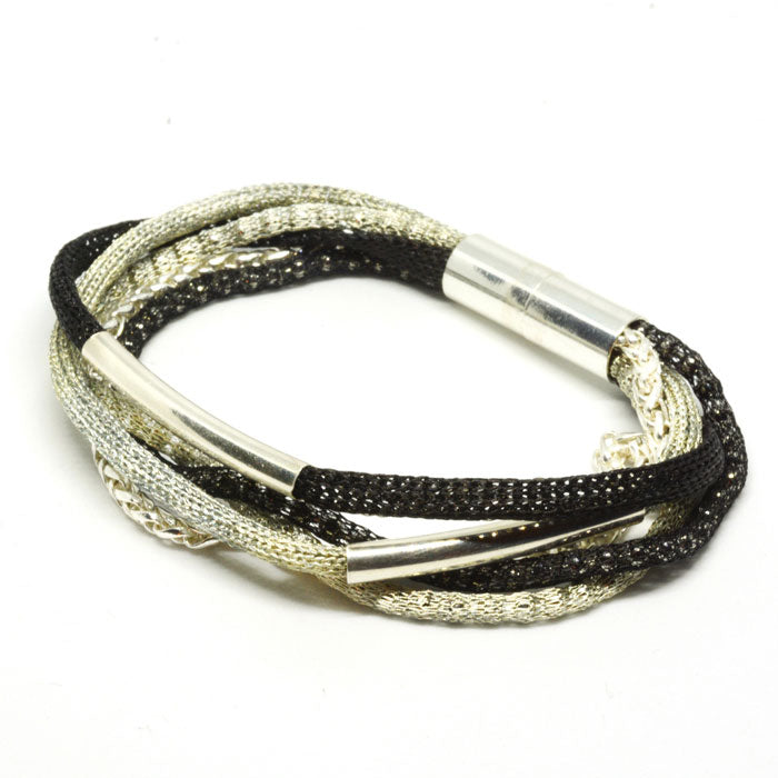 Silver Rainbow Bracelet - Black and Silver